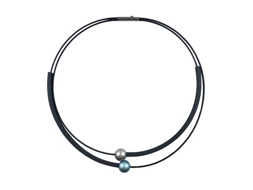 Silver- and Green/Blue- Colored Aluminum Bead Necklace