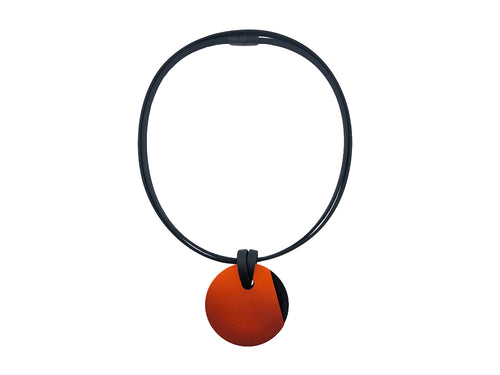 Reversible Orange/Black Pendant Necklace