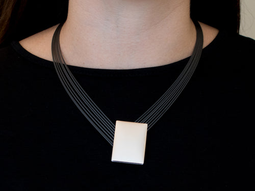 Stainless Steel and Aluminum Reversible Pendant Necklace