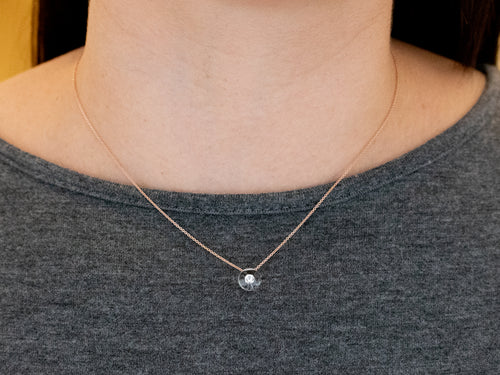 Schmuckwerk Rose Gold, Glass Ball and Diamond Necklace