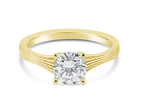 18K Yellow Gold Solitaire Engagement Ring Mounting