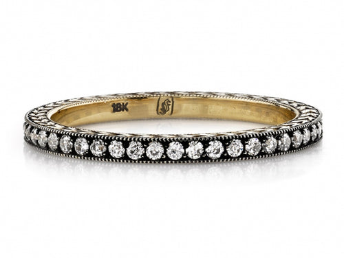 "18K Yellow Gold, Oxidized Sterling Silver and Diamond ""Molly"" Wedding Band"