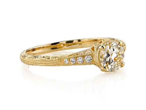 "Single Stone 18K Yellow Gold and Diamond Solitaire ""Elyse"" Engagement Ring in Washington DC"