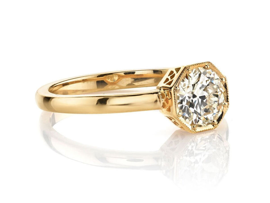 "Single Stone 18K Yellow Gold and Diamond Solitaire ""Emerson"" Engagement Ring in Washington DC"