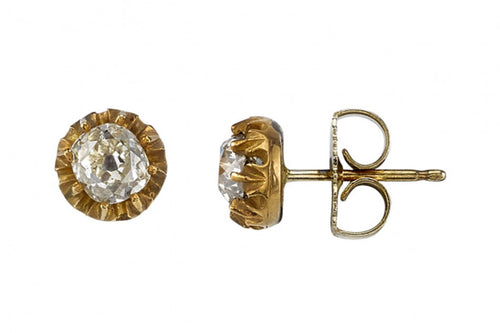18K Yellow Gold and Cushion Diamond Stud Earrings