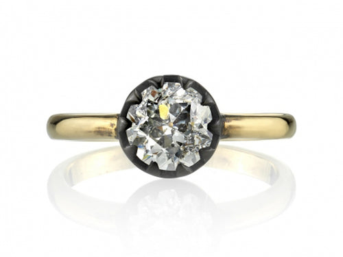 "18K Yellow Gold, Oxidized Sterling Silver and Diamond ""Angelina"" Engagement Ring"