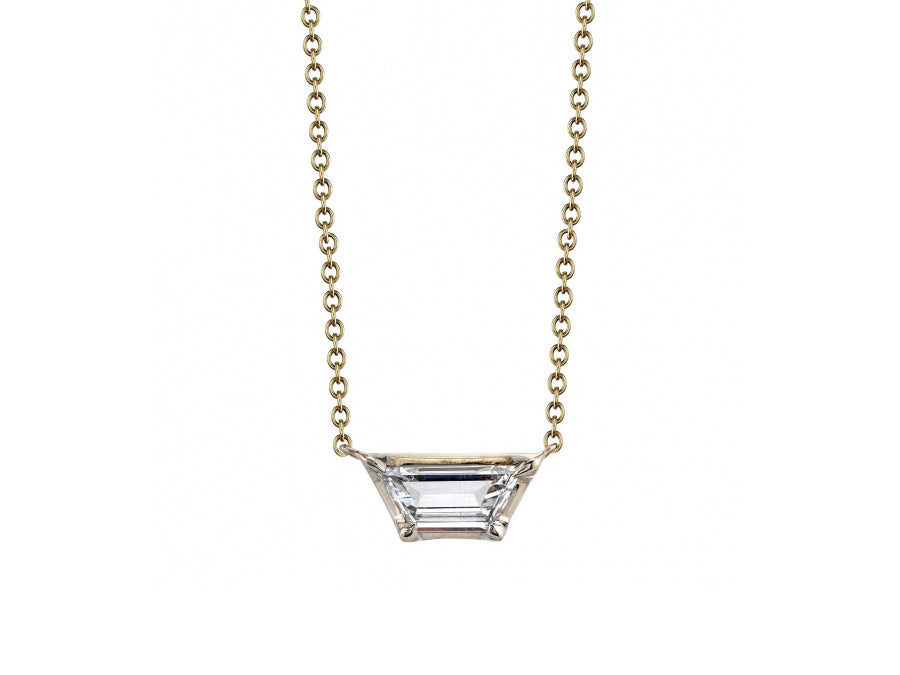 "18K Yellow Gold, 18K White Gold and Trapeze Diamond ""Alyssa"" Necklace"