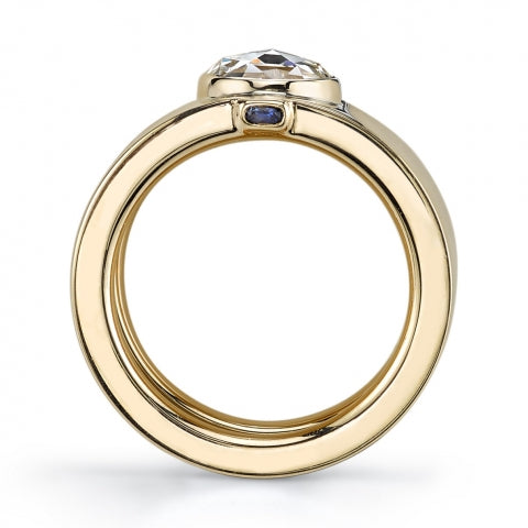 "18K Yellow Gold, Diamond and Sapphire ""Cygalle"" Ring"