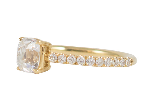 18K Yellow Gold and Cushion Diamond Engagement Ring