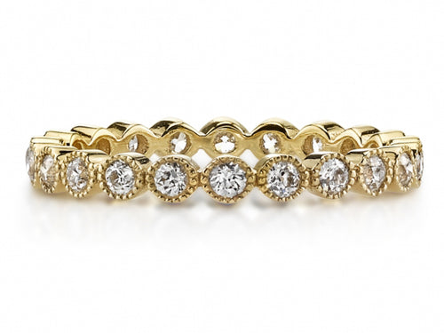 "Single Stone 18K Yellow Gold and Diamond ""Gabby"" Wedding Band in Washington DC"