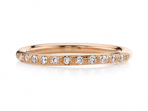 Single Stone rose gold and diamond wedding band at the Best Jewelry Store in Washington DC