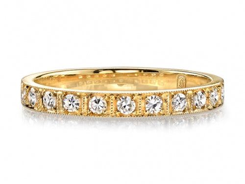 "Single Stone 18K Yellow Gold and Diamond ""Hadley"" Wedding Band in Washington DC"