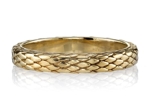 "Single Stone Snake Print Yellow Gold ""Eden"" Wedding Band in Washington DC"