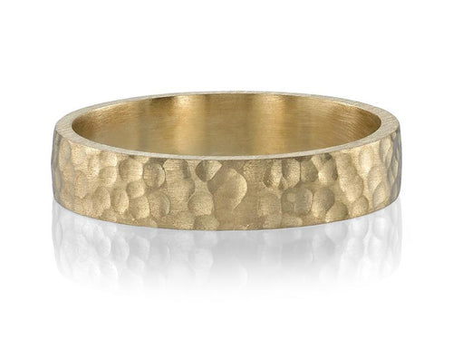 Single Stone Hammered Texture Yellow Gold Men's Wedding Band in Washington DC