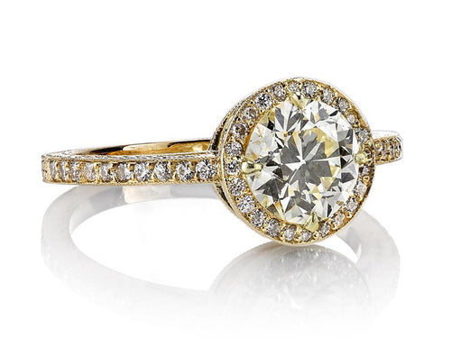 "Single Stone 18K Yellow Gold and Diamond ""Celine"" Engagement Ring in Washington DC"