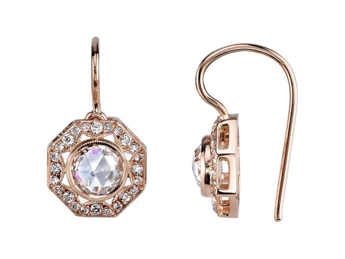 Single Stone Vintage Style Rose Gold and Diamond Earrings