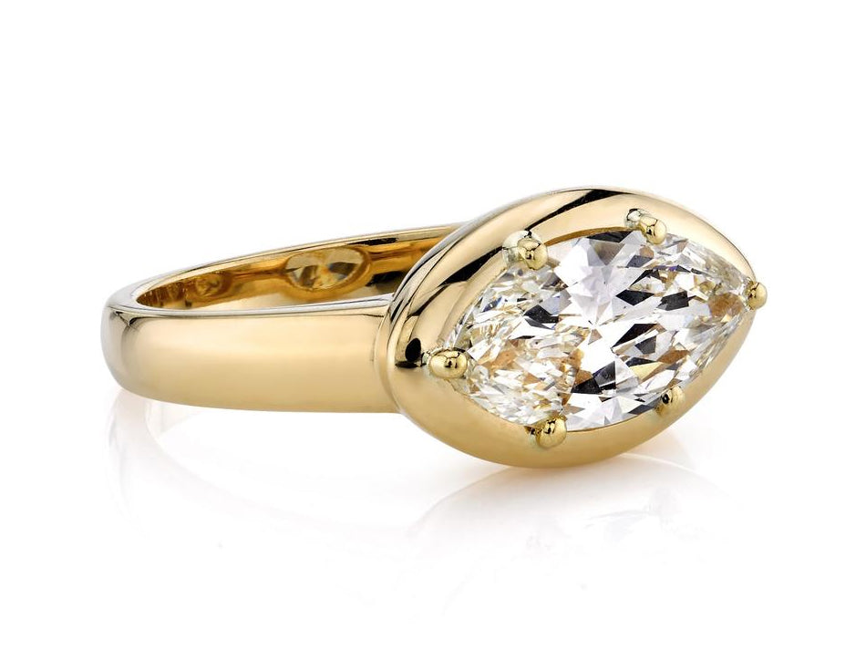 "Single Stone 18K Yellow Gold and Diamond Solitaire ""Cori"" Engagement Ring in Washington DC"