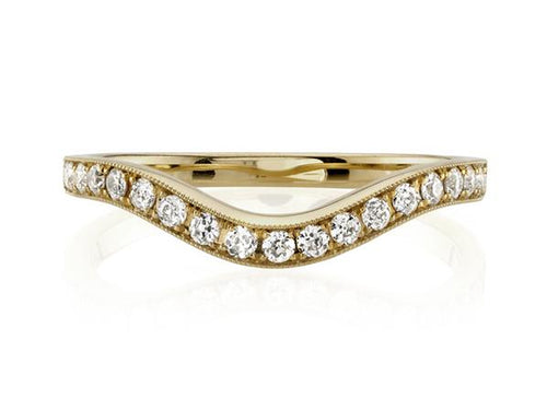 Single Stone yellow gold curved wedding band in Washington DC