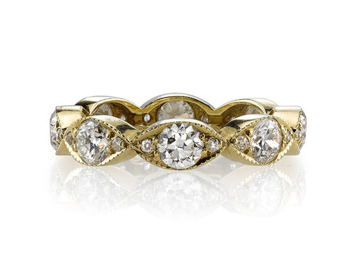 "18K Yellow Gold and Diamond ""Kelly"" Wedding Band"