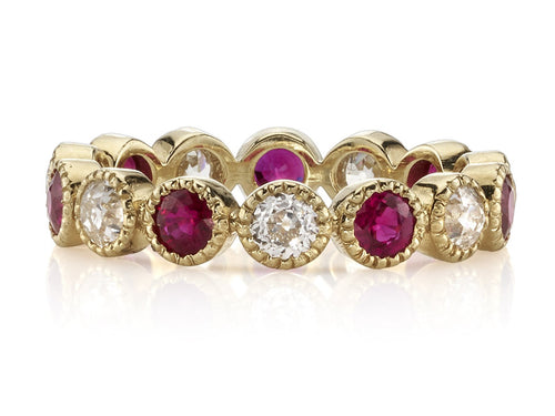 "18K Yellow Gold, Diamond and Ruby ""Gabby"" Wedding Band"