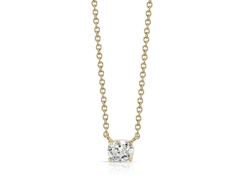 18K White Gold, Glass Ball and Diamond Necklace