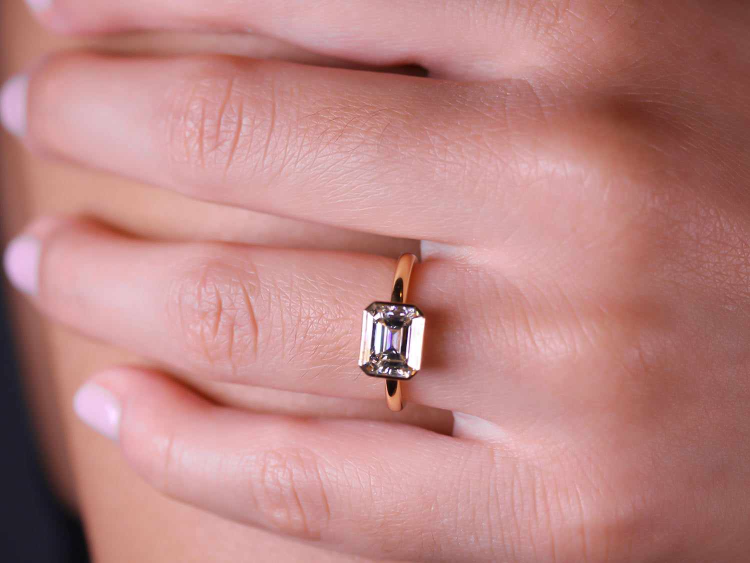 "Emerald Diamond ""Leah"" Engagement Ring in Yellow Gold"