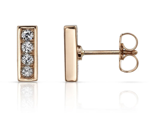 Rose Gold Pavé Diamond Stud Earrings