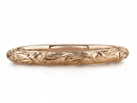14K Rose Gold and Baguette Diamond Wedding Band
