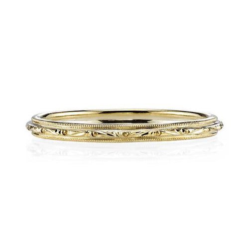"Hand Engraved ""Lucy"" Wedding Band in Yellow Gold"