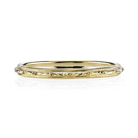 "18K Yellow Gold and Diamond ""Wood Nymph"" Faye Asymmetrical Wedding Ring Guard"