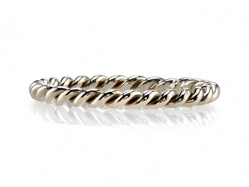 "18K White Gold Braided ""Lara"" Wedding Band"