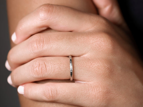 "Stackable ""Jane"" Wedding Band in White Gold"