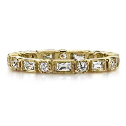 "Round and Baguette Diamond ""Hannah"" Wedding Band in Yellow Gold"