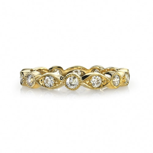 "Vintage-Inspired Diamond ""Elizabeth"" Wedding Band in Yellow Gold"
