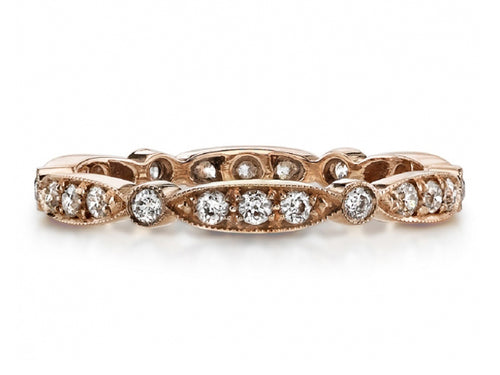 "18K Rose Gold and Diamond ""Sadie"" Wedding Band"