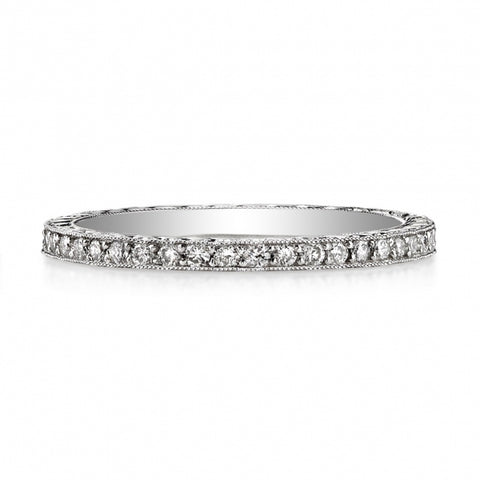 "14K White Gold and Diamond ""Eliza"" Wedding Band"