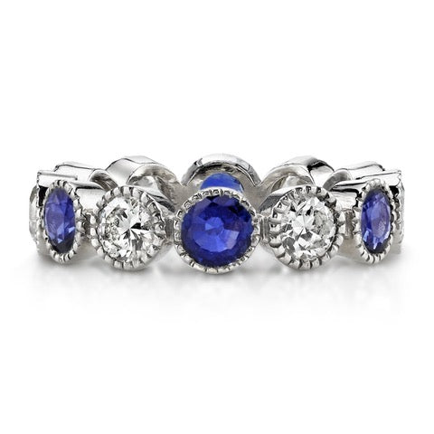 "Sapphire and Diamond ""Large Gabby"" Eternity Wedding Band"