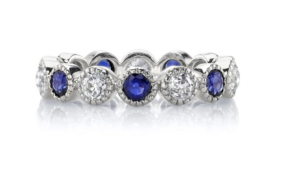 "Sapphire and Diamond ""Medium Gabby"" Eternity Wedding Band"