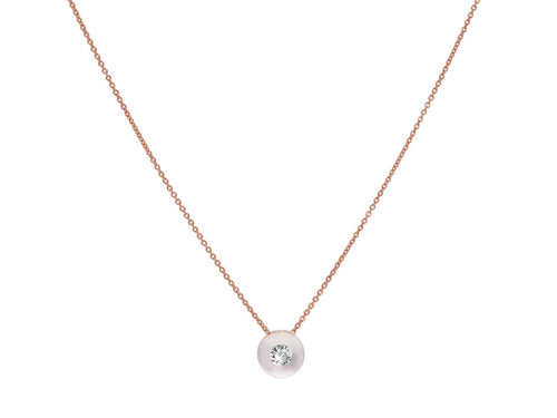 18K Rose Gold, Glass Ball and Diamond Necklace