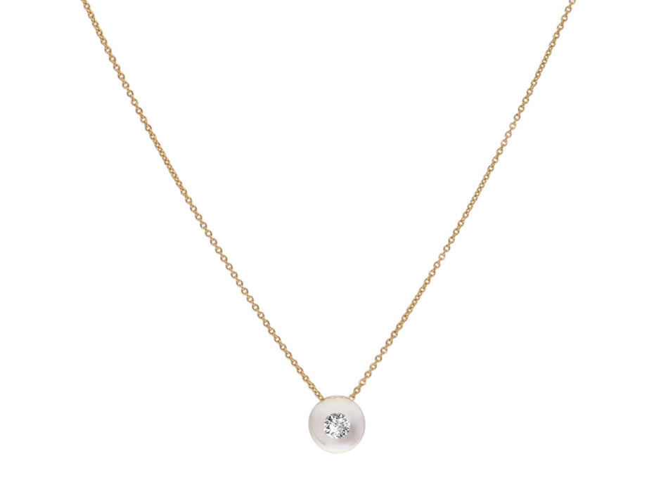 18K Yellow Gold, Glass Ball and Diamond Necklace