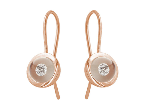 18K Rose Gold, Glass Ball and Diamond Earrings