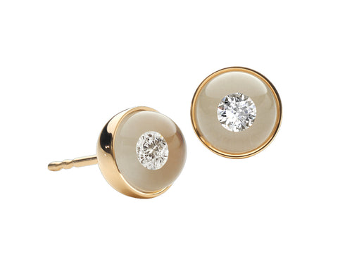 18K Yellow Gold, Glass Ball and Diamond Stud Earrings