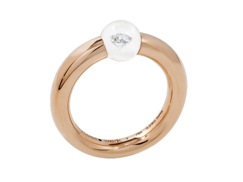 18K Rose Gold, Glass Ball and Diamond Ring