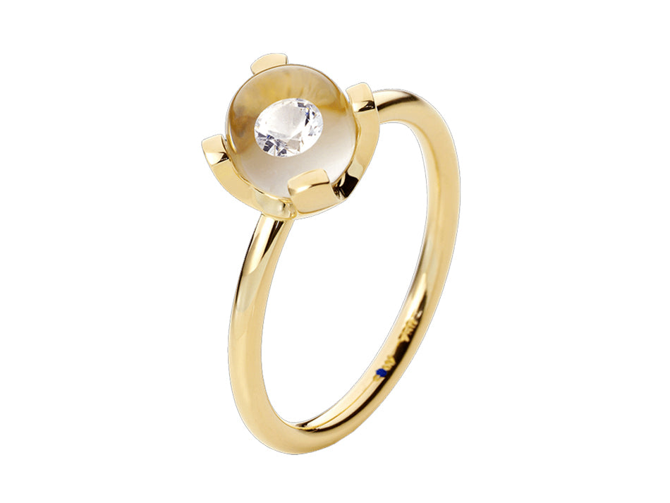 18K Yellow Gold, Glass Ball and Diamond Ring