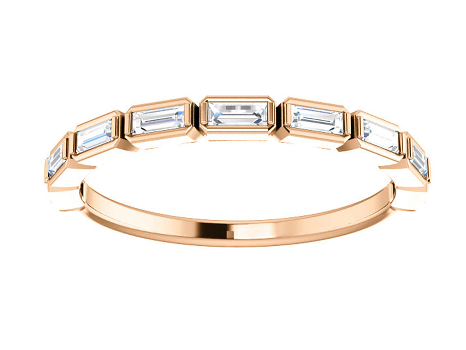 14K Rose Gold and Baguette Diamond Wedding Band in Washington DC
