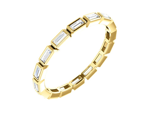14K Yellow Gold and Baguette Diamond Wedding Band in Washington DC