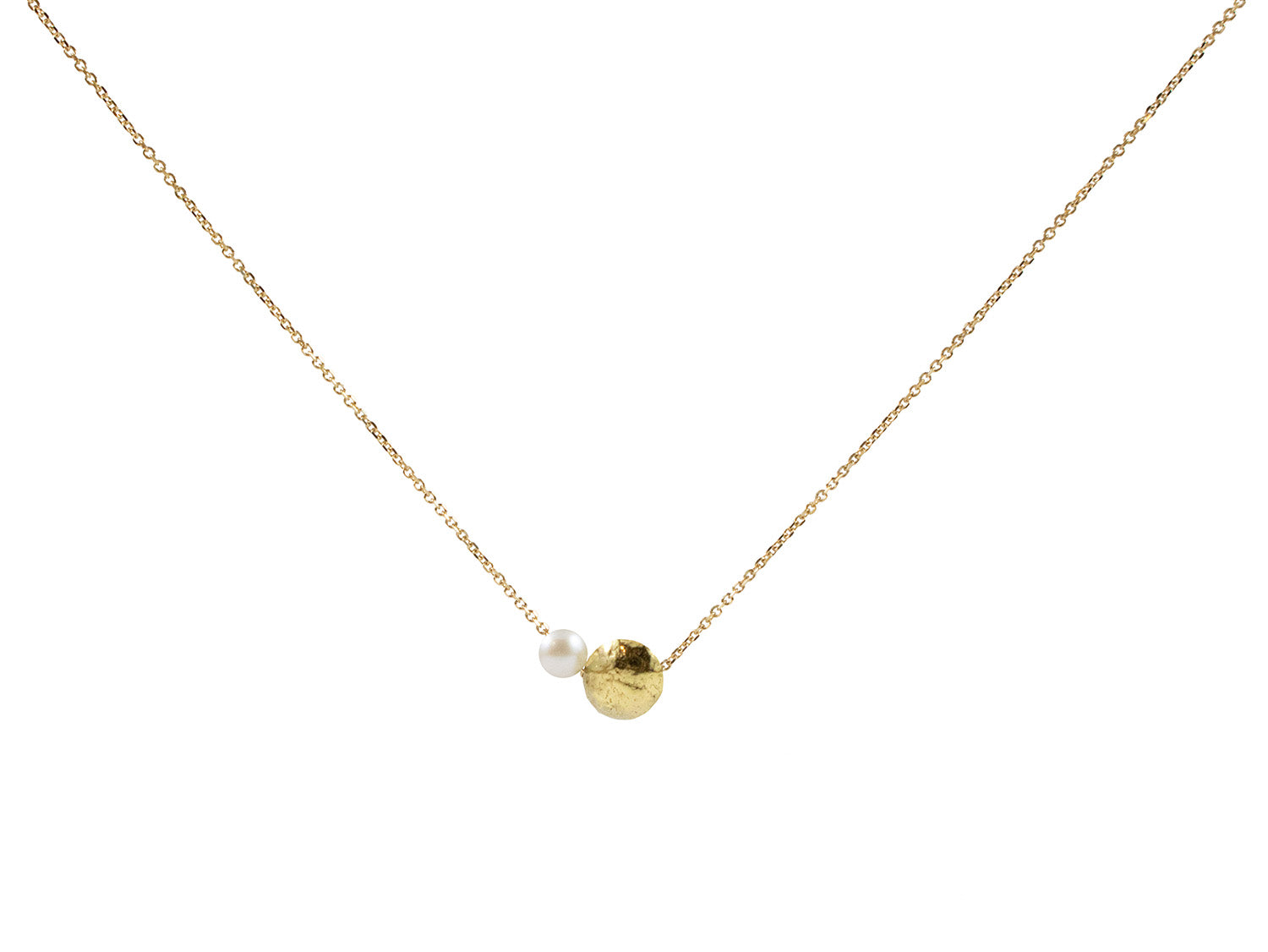 18K Yellow Gold Bead and Pearl Necklace