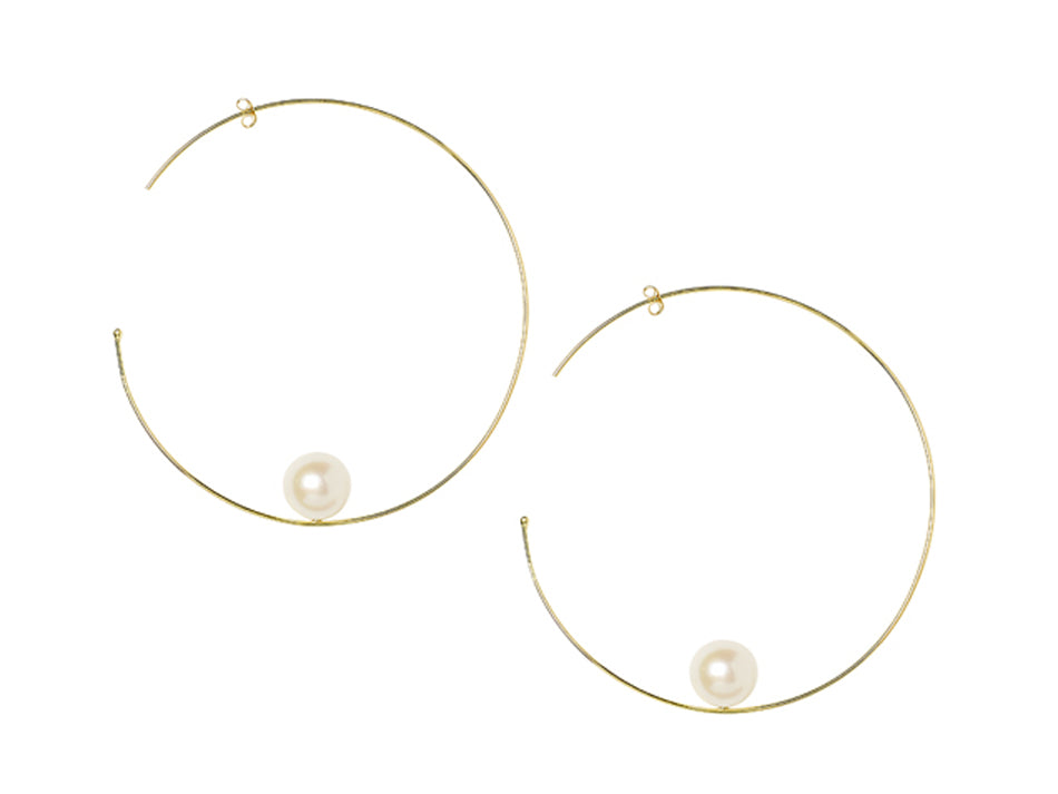 18K Yellow Gold and Pearl Hoop Earrings
