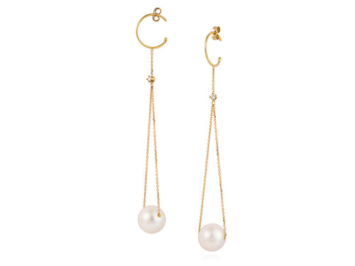 18K Yellow Gold, Pearl and Diamond Earrings