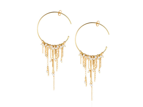 18K Yellow Gold and Seed Pearl Hoop Earrings